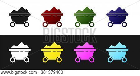 Set Coal Mine Trolley Icon Isolated On Black And White Background. Factory Coal Mine Trolley. Vector