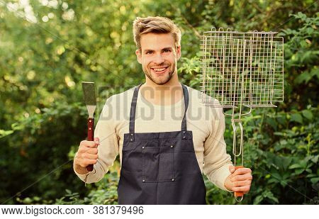 Barbeque Time. Picnic Cooking Utensils. Outdoor Party Weekend. Tools For Roasting Meat Outdoors. Cul