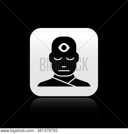 Black Man With Third Eye Icon Isolated On Black Background. The Concept Of Meditation, Vision Of Ene