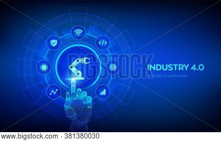 Smart Industry 4.0 Concept. Factory Automation. Autonomous Industrial Technology. Industrial Revolut