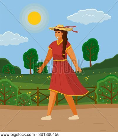 Beautiful Girl In A Straw Hat In Summer Day Outdoor. Young Cheerful Woman Walking Down The Street. S