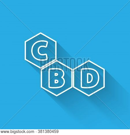 White Line Cannabis Molecule Icon Isolated With Long Shadow. Cannabidiol Molecular Structures, Thc A