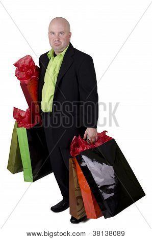 Bald man shopping