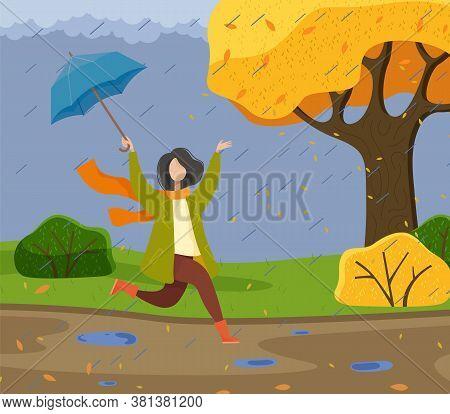 Autumn Cartoon Girl Holding An Umbrella, Having Fun In The Rain, Running And Jumping Through Puddles