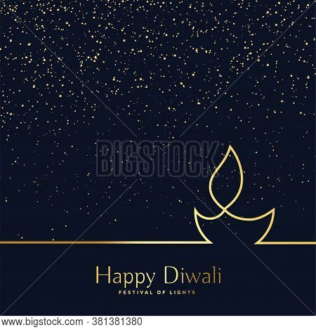 Creative Line Art Diwali Diya Background Vector Design Illustration