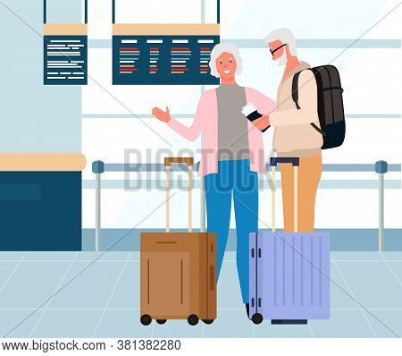 Older People Travelers Standing In Departure Lounge With Baggage. Smiling Senior And Lady With Lugga