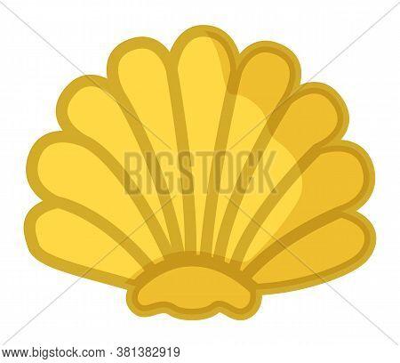 Sea Shell Yellow In Semicircular Form. Mollusk Aquatic Underwater Inhabitant On White Background. Wa