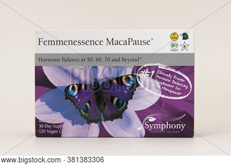 Davis, Ca, Aug 16, 2020. Box Of Femmenessence Macapause From Symphony Natural Health On White Backgr