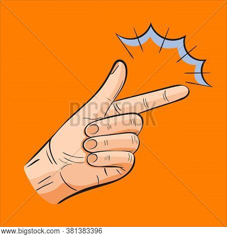 Finger Snapping Gesture Icon. Hand Snap Fingers Like Easy Concept. Arm Make Magic Click. Modern Flat