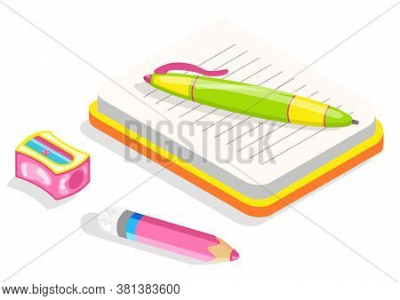 School Copybook Or Diary, Stationery Supplies Isolated Object Vector. Notebook And Sharpener, Pencil