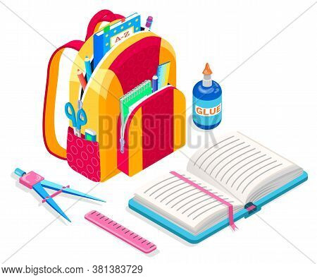 Satchel Loaded With Supplies For Lessons Vector, Back To School Concept. Textbook And Glue Bottle, S