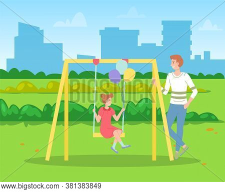 Man Walking With Daughter, Girl Swinging On A Slide Swing At The Playing Field. Happy Cartoon Kid Ho