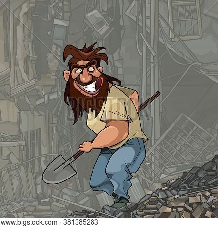 Funny Cartoon Shaggy Bearded Man With A Shovel In His Hand Sneaking Into The Ruins