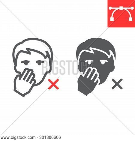Do Not Touch Your Face Line And Glyph Icon, Coronavirus And Covid-19, Don T Touch Face Sign Vector G