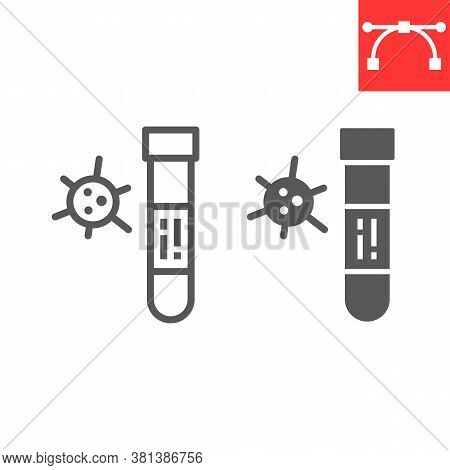 Covid-19 Blood Test Tube Line And Glyph Icon, Coronavirus And Diagnosis, Blood Test Tube Sign Vector