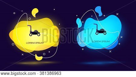 Black Lawn Mower Icon Isolated On Black Background. Lawn Mower Cutting Grass. Abstract Banner With L
