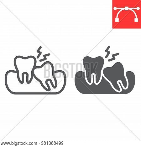 Wisdom Teeth Line And Glyph Icon, Dental And Stomatolgy, Impacted Tooth Sign Vector Graphics, Editab