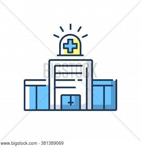 Walk In Clinic Rgb Color Icon. Medical Facility. Urgent Care Center. Healthcare Service Provider. Ho