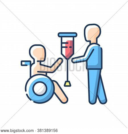 Rehabilitation Services Rgb Color Icon. Physical Therapy. Medical Care. Rehabilitation For People Wi