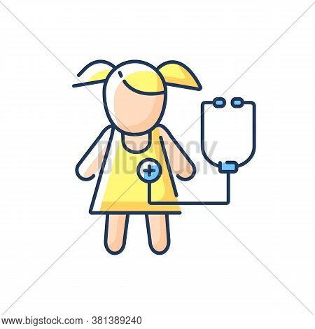 Pediatric Department Rgb Color Icon. Infants And Children Medical Care. Kids Physical, Psychosocial