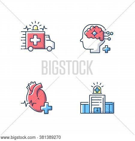 Urgent Health Care Rgb Color Icons Set. Cardiology Consultant. Ambulance. Neurological Surgery. Urge