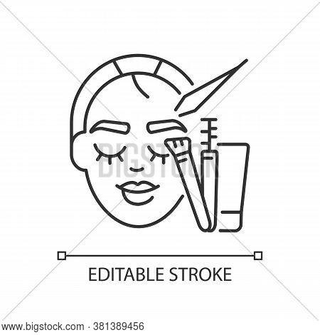 Brow Art Linear Icon. Eyebrow Lamination And Tinting. Beauty Salon. Permanent Eyebrows Makeup. Thin