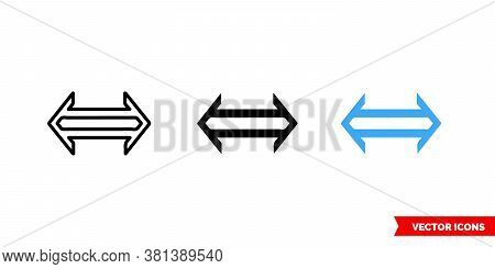 Equivalent Symbol Icon Of 3 Types Color, Black And White, Outline. Isolated Vector Sign Symbol.