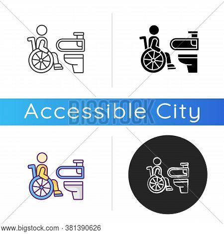 Accessible Toilet Icon. People With Physical Disabilities Conveniences. Wheelchair Accessible Public