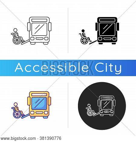 Bus Ramp Icon. Bus Wheelchair Ramp. Vertical Platform Lift. Accessibility Device. Convenient Public