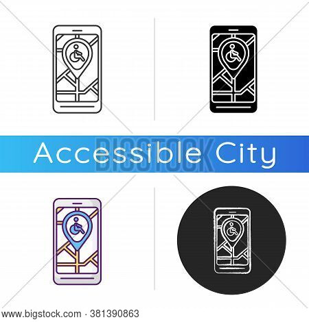 City Navigation App Icon. City Map App For Wheelchair Users. Navigation In Public Places. Wheelchair