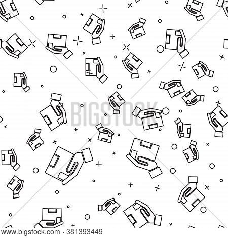 Black Line Delivery Insurance Icon Isolated Seamless Pattern On White Background. Insured Cardboard