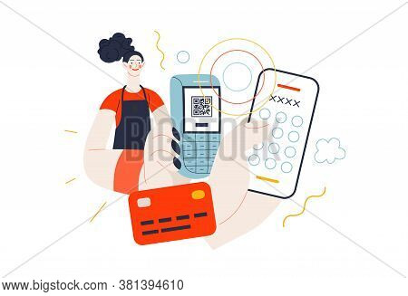 Business Topics - Payment. Flat Style Modern Outlined Vector Concept Illustration. A Waitress Holdin