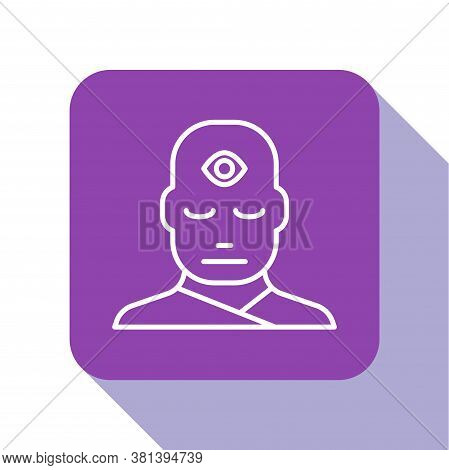 White Line Man With Third Eye Icon Isolated On White Background. The Concept Of Meditation, Vision O