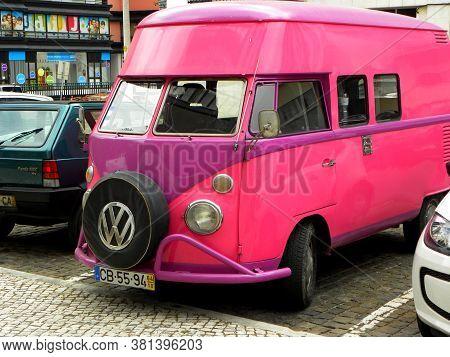 Torres Vedras, Portugal, July 2019. Pink Retro Car Volkswagen 1964 Release.