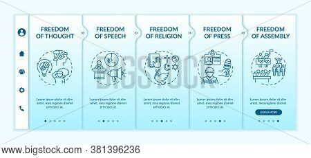 Basic Human Freedoms Onboarding Vector Template. Freedom Of Thought And Speech. Human Rights. Respon