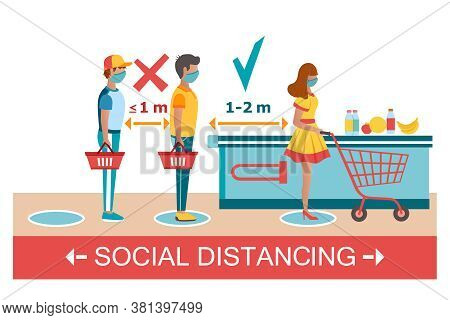 Social Distancing At Supermarket Icon. Buyers In Medical Masks With Baskets And Cart. Advice To Peop