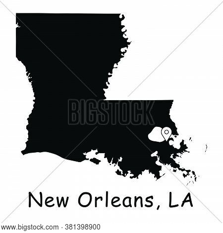 New Orleans On Louisiana State Map. Detailed La State Map With Location Pin On New Orleans City. Bla