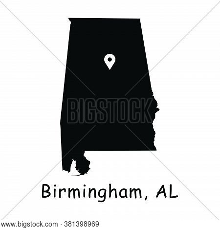 Birmingham On Alabama State Map. Detailed Al State Map With Location Pin On Birmingham City. Black S