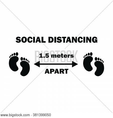 Social Distancing Two Footprints 1.5m Apart. One And A Half Meters Apart Social Distancing Preventiv