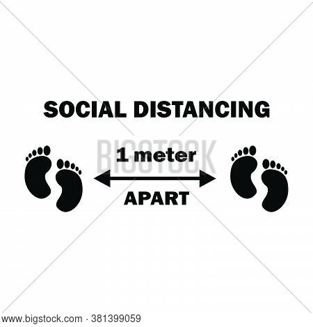 Social Distancing Two Footprints 1m Apart. One Meter Apart Social Distancing Preventive Measures Fee