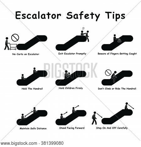 Escalator Stairways Safety Tips Precaution Measures. Black Sign Diagram Depicting Dos And Don'ts On