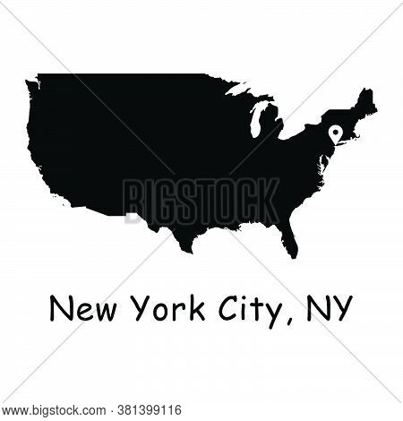 New York City On Usa Map. Detailed America Country Map With Location Pin On Nyc. Black Silhouette An