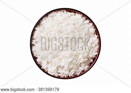 White Rice In Black Bowl Isolated On White Background, Rice From Asia, Rice Food Of Asian Style, Cli