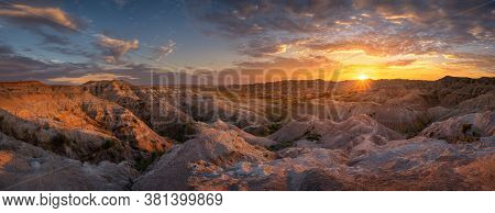 Stunning View Of A Colorful Summer Sunset In Badlands National Park