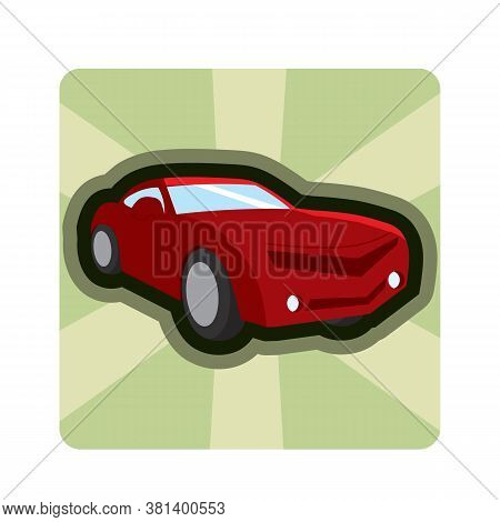 Isolated Cartoon Animated Car Videogame Icon - Vector