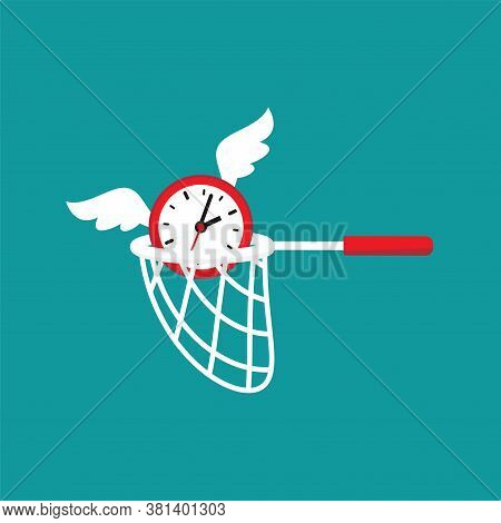 Butterfly Net Caught Flying Clock With Wings. Catch, Hunt, Chase Money Symbol.