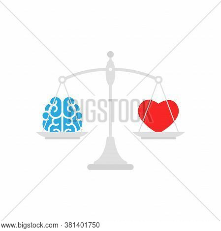 Grey Mechanical Scales With Brain And Red Heart In Pans. Love, Like, Sympathy Value, Solution And Ra