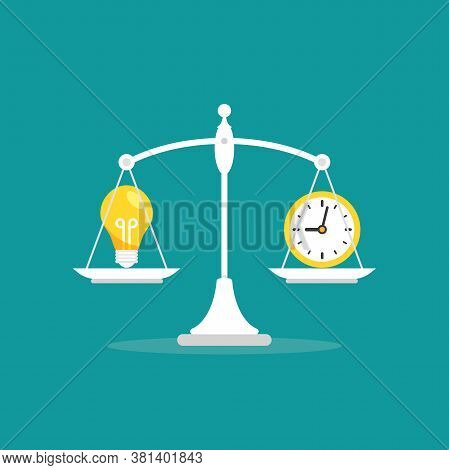 White Mechanical Scales With Clock And Light Bulb In Pans. Idea Value, Solution And Expenses Balance