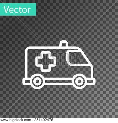 White Line Ambulance And Emergency Car Icon Isolated On Transparent Background. Ambulance Vehicle Me