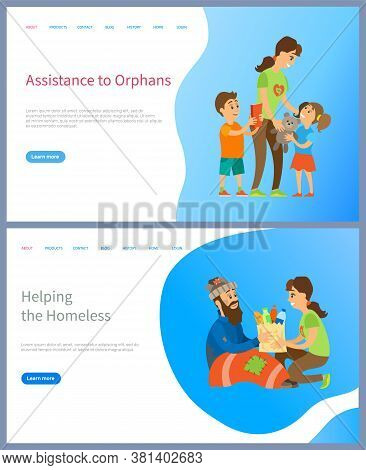 Assistance To Orphans Vector, Helping Homeless Giving Food And Supplies For Living, Volunteer Woman